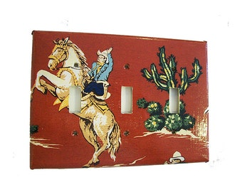 retro cowboy triple light switch plate vintage Fifties rockabilly country western kitsch