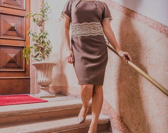 Sheath dress with gold lace