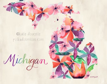 Simple Watercolor Floral Michigan