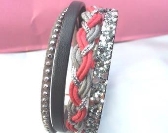 Bracelet manchette rose gris et argenté