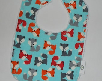 Blue Foxes  and Chenille Bib