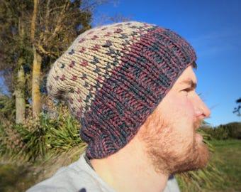 Handmade Knit Merino Wool Hat Beanie Toque