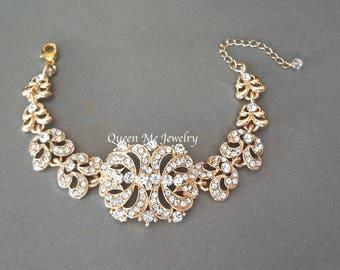 Gold crystal bracelet Brides bracelet Wedding bridal bracelet Mother of the bride Wedding jewelry Bridal jewelry Gold Rhinestone Gift