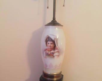 Vintage Porcelain Figure Lovely Lady Pictured Lamp