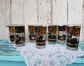 Industry Themed Barware - Vintage Tumblers, Retro Barware, Fathers Day, Man Cave, Retro Drinkware, Housewarming Gift, Oil Fields + Machinery
