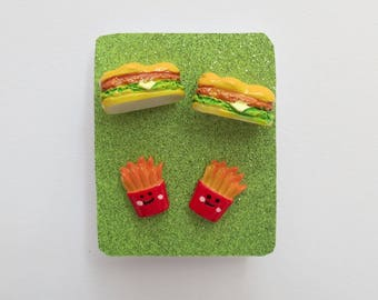 Food Earring Set Sandwich Fries Sandwiches Hoagie Lunch  Gift  Present Gift for Her Accessory