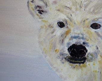 Polar Bear - polar bear portrait - polar bear painting