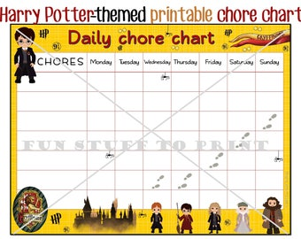 Wizard printable chore chart for Harry Potter fan and little wizards and witches - Chores, timetables, schedules
