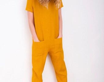 Linen Jumpsuit - Mustard Jumpsuit - Short Sleeve Jumpsuit - Women Linen Overall - Jumpsuit - Linen Romper - Handmade by OFFON
