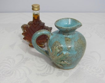 Handmade Pottery Maple Syrup Pitcher - Turquoise Glaze - Green Maple Leaf - Wheelthrown