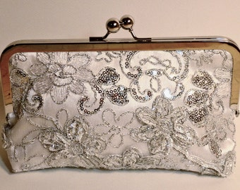 Bridal Clutch Silver Princess Beaded and sequined Clutch Floral Pattern