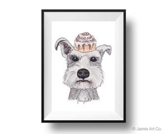 Dog Art Print - Schnauzer and Cinnabuns, Childrens Art, Kids Wall Art, Frameable Art, Animal Wall Art, Dog Art, Dog Portrait, Pet Art