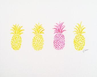 Pineapple Painting, Original Watercolor Pineapple, Tropical Fruit Art, Yellow Pineapple, Nursery Art, Kid Art, Pink Pineapple Painting