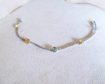 4.00 Ct 1.40 Ct Diamond Tennis bracelet white gold Multicolor Sapphire 18 kt-extra 10% off coupon-rooms