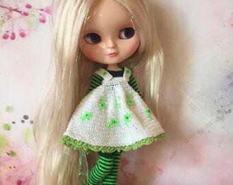 Blythe dress, stockings, sweater / Blythe dress / Blythe sweater / Blythe stockings / Green doll dress / Blythe clothes / Blythe outfit