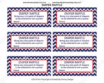 Nautical Baby Shower Games - PRINTABLE Baby Shower Diaper Raffle Tickets Inserts - Red White Blue Nautical - Chevron Party Supplies