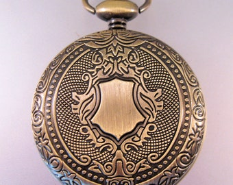 "CARTOUCHE Pocket Watch w/31"" Chain OR 14"" Belt Chain Gift for Dad Gift for Brother GIft for Son Gift for Mom"