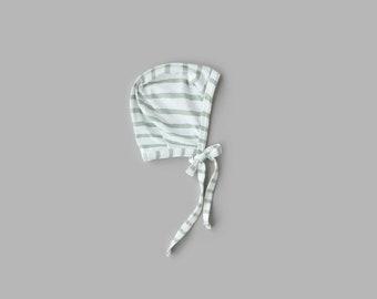 Celery Green Stripe Bonnet NB - 5T