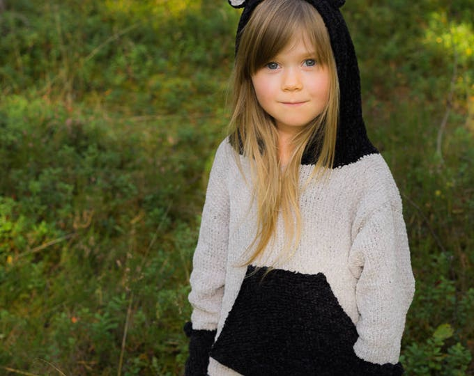 KNITTING PATTERN hooded sweater Dylan with pocket, round ears and bows (toddler and kids sizes)