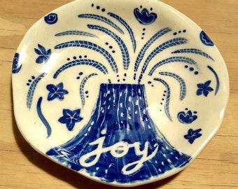 Joy, Handmade ceramic platter. Illustrated ceramics. Unique piece.