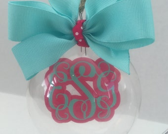 Christmas Ornament Personalized - Custom Monogrammed Glass Floating