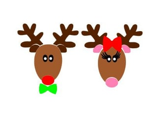 Cute Boy/Girl Reindeer SVG, DXF, EPS, ps and pdf Cutting Files for Electronic Cutting Machines