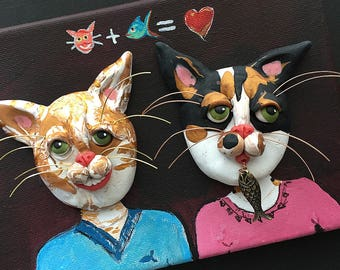 Cat Painting - Cat Couple - Calico Cat Sculpture - Two Cats - Tabby Cat Couple - Clay on Canvas - Cat Art