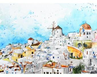 Oia Town in Santorini, Greece Europe, Watercolor Painting, Wall Art, Home Decor, Giclee Print