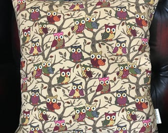 Cute HOOTING OWLS  [with CREAM  back ]   16X16