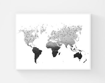 Black And White World Map Poster, Flying Bird Wall Art, Printable World Map Art, Flock of Birds Print, Large Map of The World, Wanderlust
