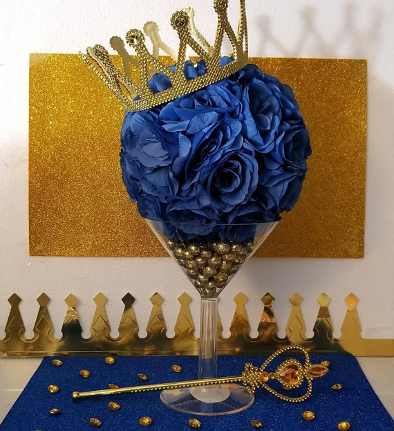 MARTINI FLOWER BALL Royal Prince Baby Shower Table Centerpiece