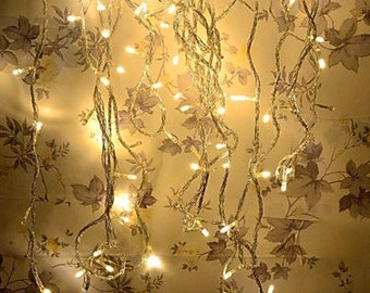 100 LED lights: SALE 33 foot long white string lights for vending, holidays, weddings, parties 110v with tail plug