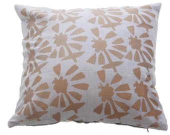 Gold and grey 'cut out floral' cushion cover.