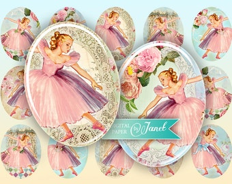 Ballerina - oval image - 30 x 40 mm or 18 x 25 mm - digital collage sheet  - Printable Download