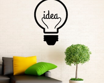 Idea Symbol Motivation Quote Wall Decal Lightbulb Idea Vinyl Stickers Home Interior Design Wall Sayings Bedroom Decor Door Sticker (26m01q)