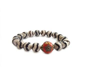 Tibetan Agate Bracelet - Black & White Zebra Stones - Orange Focal Bead - Bohemian Stacking Layering Bracelet