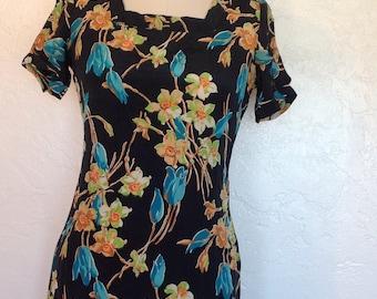 1930s Bias cut Tropical Floral Print Dress Bust 34