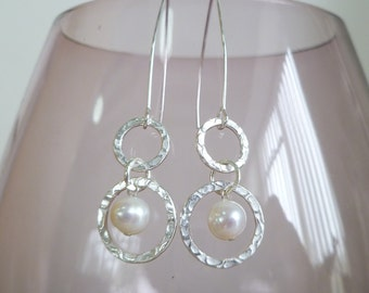 Fresh Water Pearl and Sterling Silver Earrings UK made.