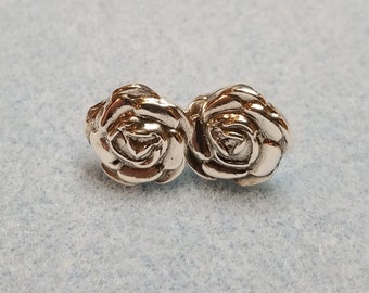 Fine Silver 3-D Rose Shaped Stud Earrings, Fine Silver Earrings, Fine Silver Roses, Fine Silver Metal Clay Earrings