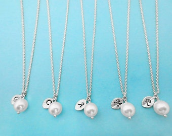 Set of 1 -10, Personalized, Letter, Initial, Italic, Font, 8mm, White, Pearl, Gold, Silver, Necklace, Set, Bridesmaid, Wedding, Bridal, Gift