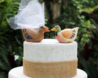 Canard colvert Wedding Cake Topper: Sculptés à la main en bois canard gâteaux de mariage