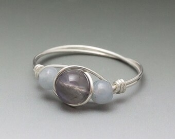 Iolite & Angelite Sterling Silver Wire Wrapped Bead Ring - Made to Order, Ships Fast!