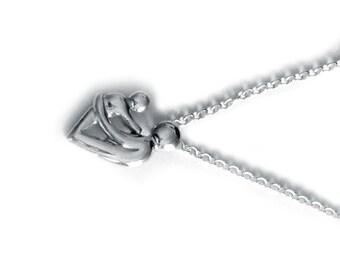 Mère et enfant à la main en argent Sterling collier