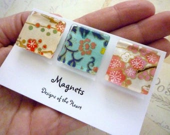 Square Glass Magnet Set - Cherry Blossom collection Japanese Paper