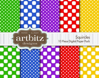 "Squircles, 10 Piece Digital Scrapbook Paper Pack, 12""x12"", 300 dpi .jpg, Instant Download!"
