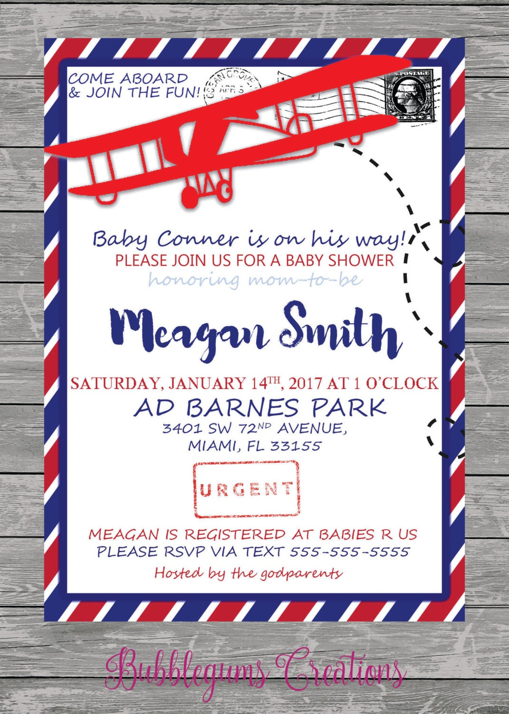 Baby Boy Airplane Cargo Vintage Baby Shower Invitation printable