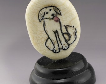 SRA Lampwork Bead OOAK Art Glass Focal Lampwork Dog Bead Puppy Lover Golden Retriever Ivory Artisan Flamework Bead Heather Behrendt 6048