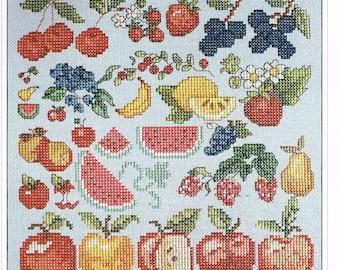 Fruit & Berry Miniature Cross Stitch Pattern - Apple Cross Stitch - Watermelon Cross Stitch - Strawberry Cross Stitch