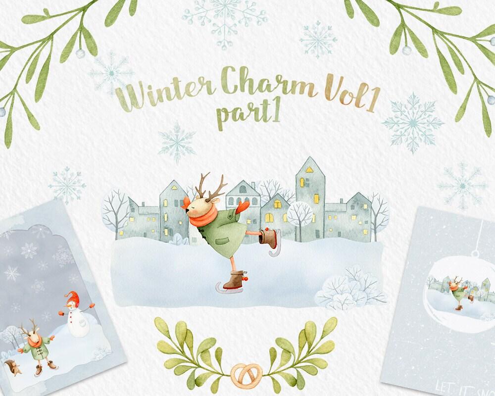 Winter clip art deer christmas clipart watercolor clipart zoom publicscrutiny Images