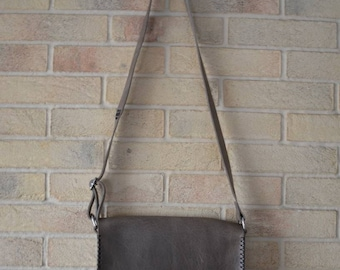 Handmade leather shoulder bag, hand-stitched